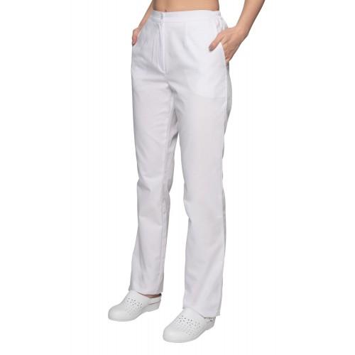 Spodnie medyczne damskie białe na guzik i gumki suwak 35% bawełna i 65% poliester ADW11176